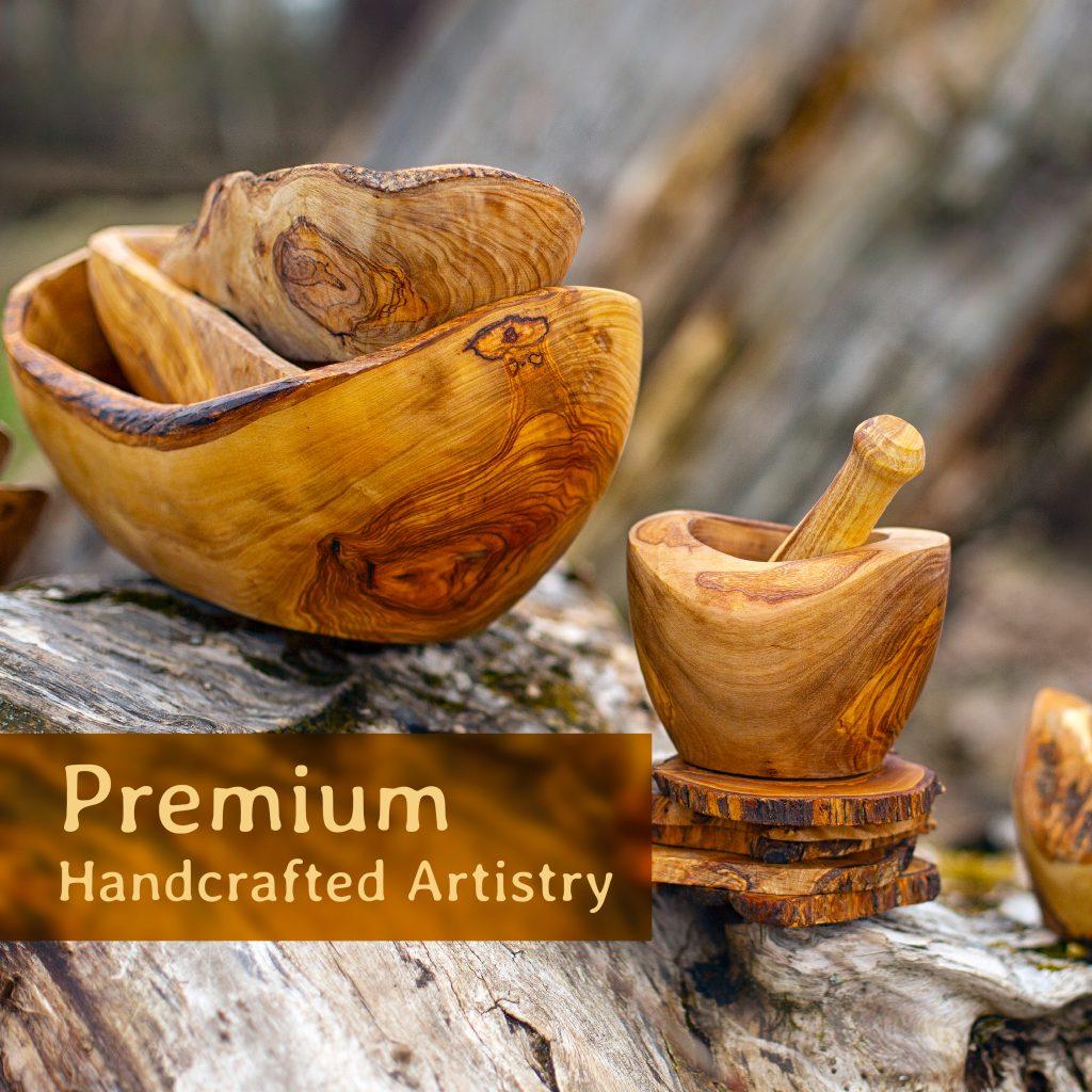 Wood Mortar and Pestle Set – Rustic (Small)