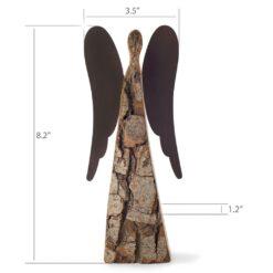 Wood Angel Figurine with Metal Wings (Medium)
