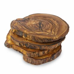 Round Wood Coasters Set, Set of 4