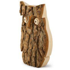Owl Figurine with Bark (Medium)