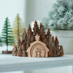 Rustic Nativity Bark Scenery