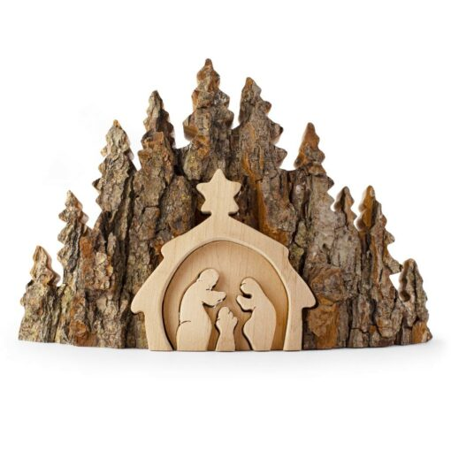 Rustic Nativity Scene Made with Bark