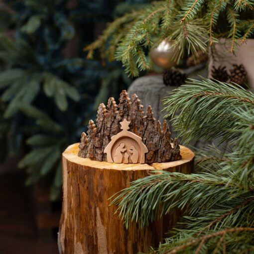 Rustic Nativity Made with Bark