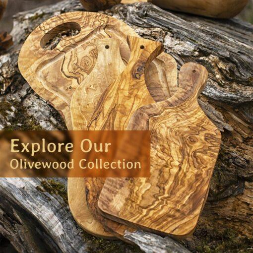 3-in-1 Olive Wood Cutting Board / Steak Board for (20″)