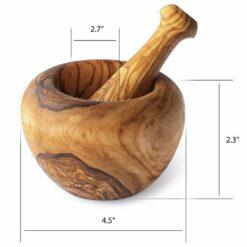 Round Shape Wood Mortar and Pestle Set