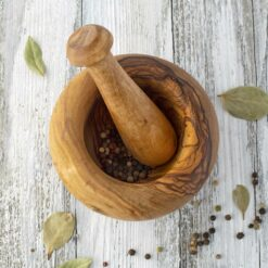 Round Wood Mortar and Pestle Set
