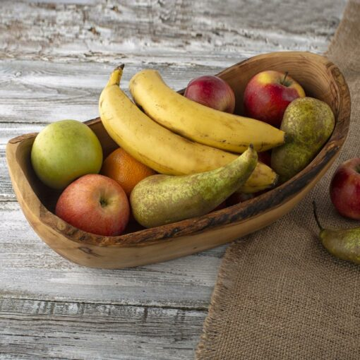 Large Wood Bowl with Fruits