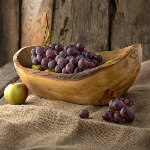 Large Wood Grapes Bowl