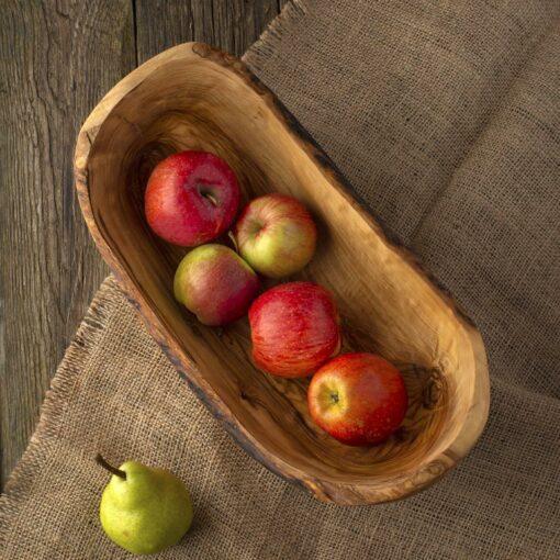 Large Wood Apple Bowl