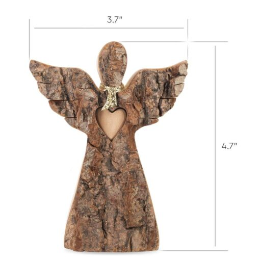 Natural Wood Angel with Wings and Love Heart
