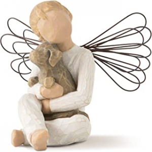 Angel Figurine holding dog puppy