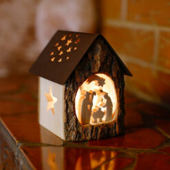Nativity Scene Candle Holder With Bark