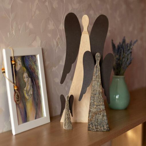 Natural Wood Angel Figurine with Metal Wings