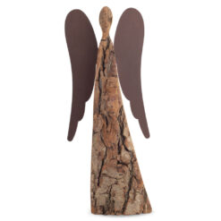 Natural Wood Angel Figurine with Metal Wings