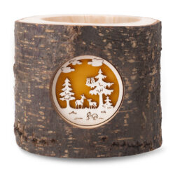 Wood Tealight Candle Holder with Wildlife Scene