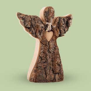 Wood Angel Figurine with Wings